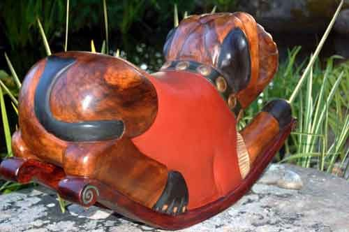 Image 1 of Rocking Bulldog Sculpture Handmade Carved and Stained, Waxed