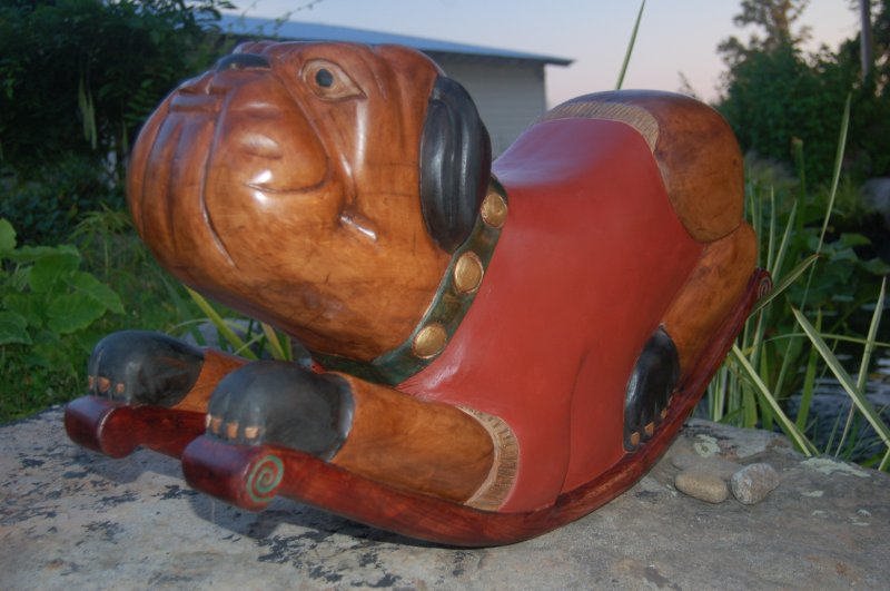 Image 2 of Rocking Bulldog Sculpture Handmade Carved and Stained, Waxed