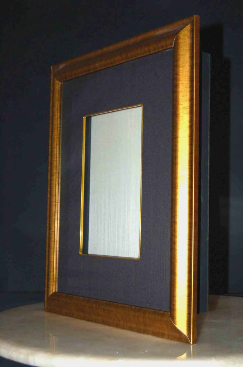 Image 0 of Gold Shadow Box Frame w/Silk and Glass 21