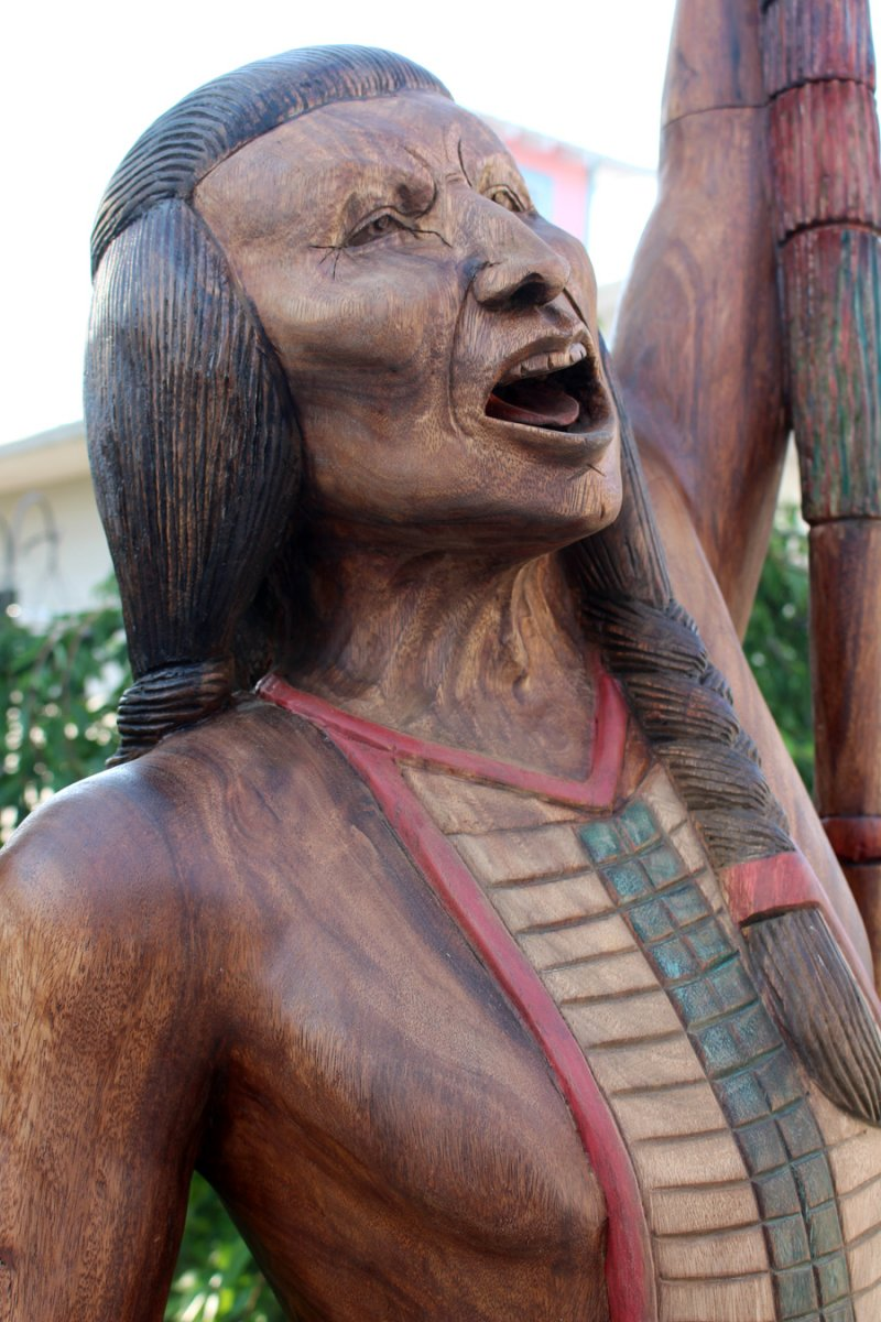 Image 0 of Wooden Cigar Store Native American Indian Warrior 8 Foot Sculpture