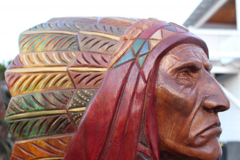 Image 9 of Wooden Native American Indian Chief Life Size Hand Carved Scupture Ready to Ship