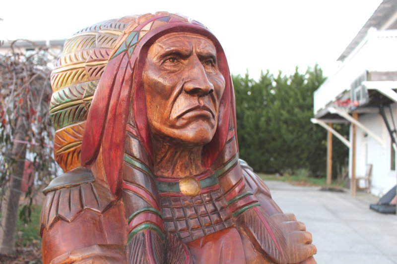 Image 10 of Wooden Native American Indian Chief Life Size Hand Carved Scupture Ready to Ship