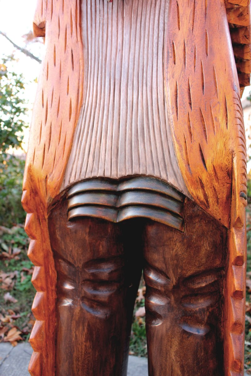 Image 12 of Wooden Native American Indian Chief Life Size Hand Carved Scupture Ready to Ship