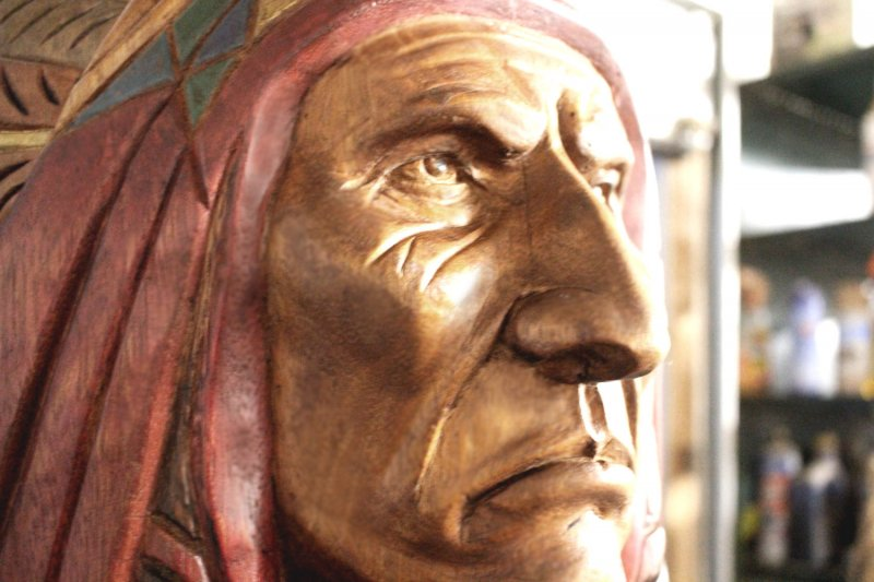 Image 14 of Wooden Native American Indian Chief Life Size Hand Carved Scupture Ready to Ship