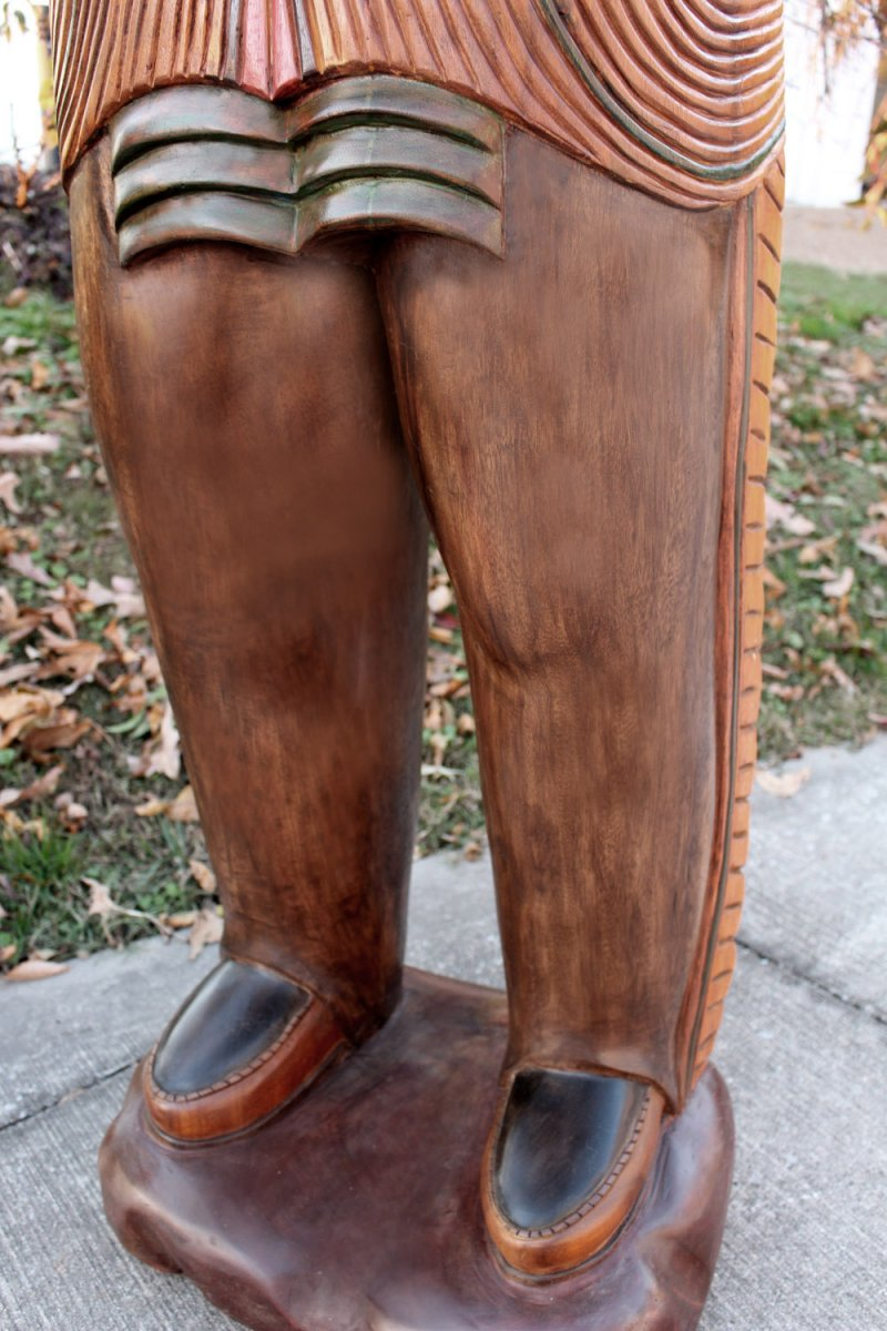 Image 15 of Wooden Native American Indian Chief Life Size Hand Carved Scupture Ready to Ship