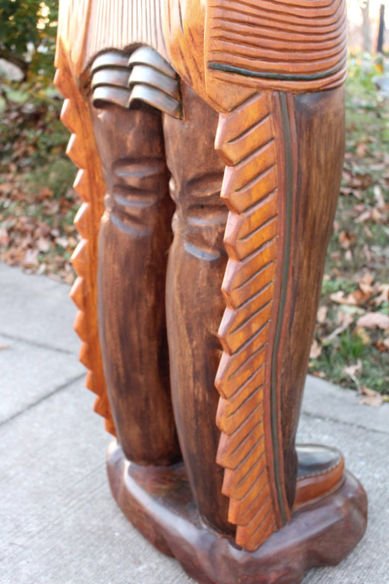 Image 16 of Wooden Native American Indian Chief Life Size Hand Carved Scupture Ready to Ship