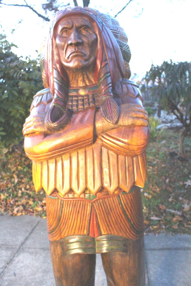 Image 17 of Wooden Native American Indian Chief Life Size Hand Carved Scupture Ready to Ship
