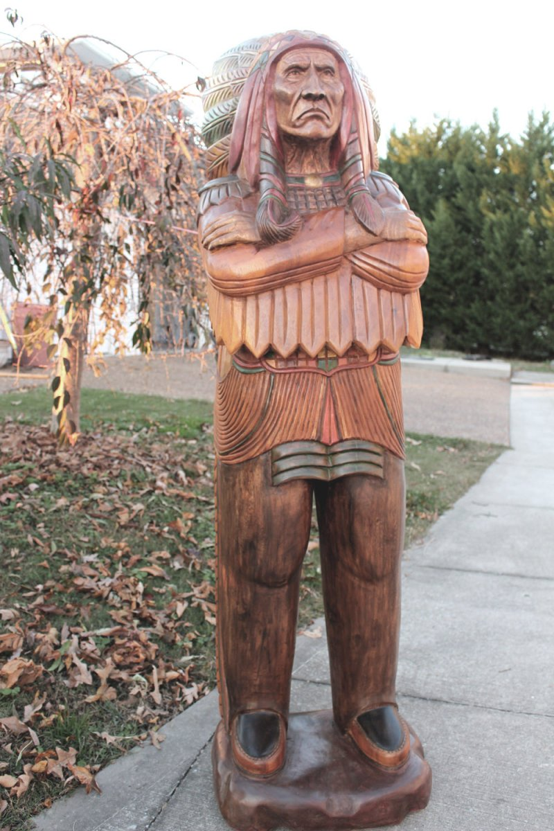 Image 0 of Wooden Native American Indian Chief Life Size Hand Carved Scupture Ready to Ship