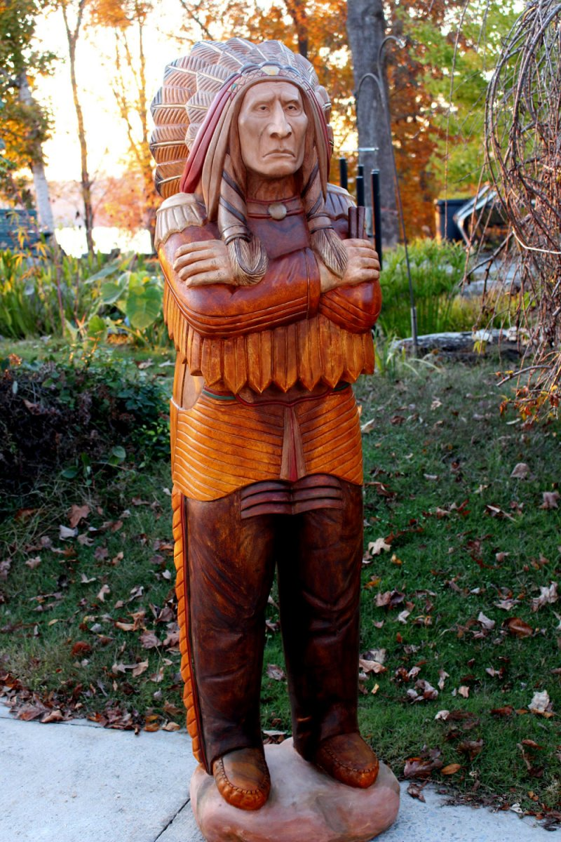 Wooden Native American Indian Chief Life Size Hand Carved Scupture Ready to Ship