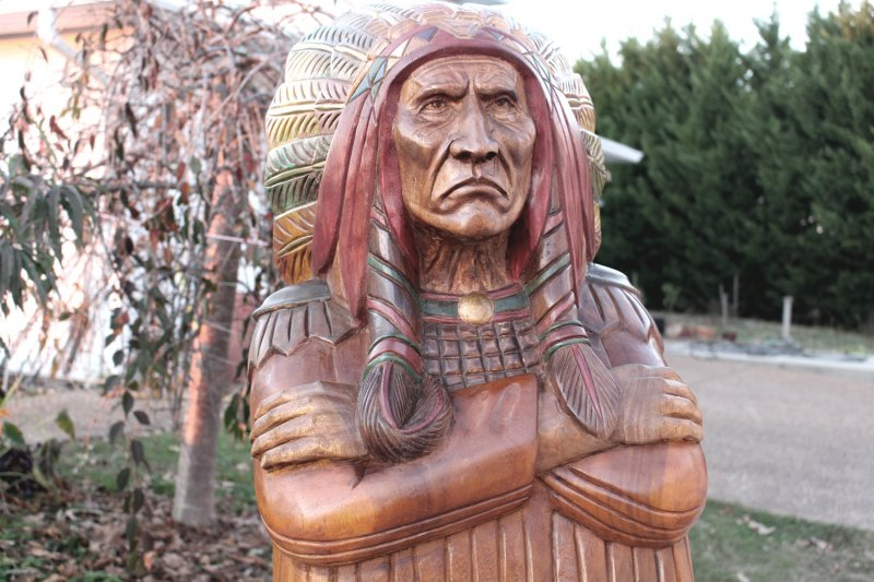 Image 1 of Wooden Native American Indian Chief Life Size Hand Carved Scupture Ready to Ship