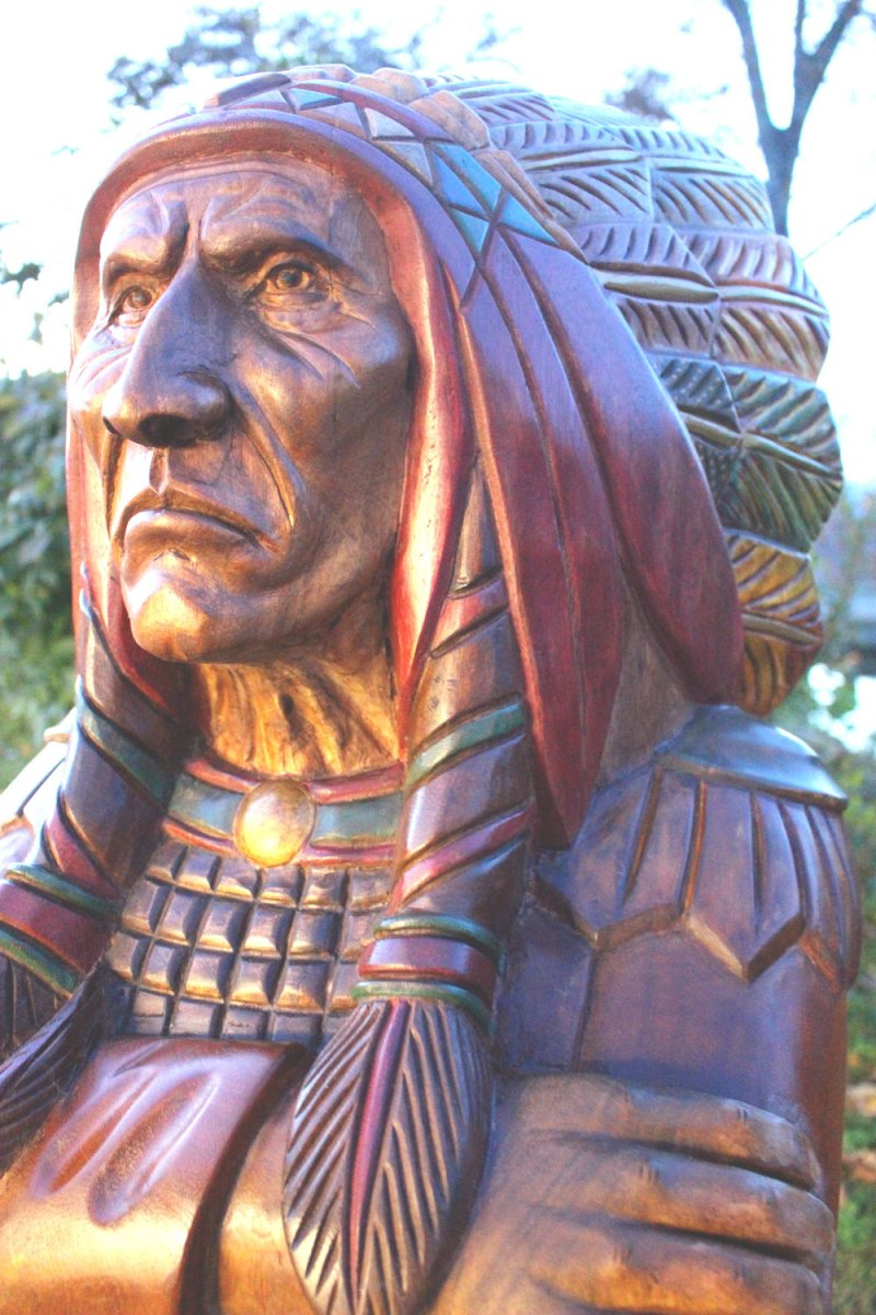 Image 2 of Wooden Native American Indian Chief Life Size Hand Carved Scupture Ready to Ship