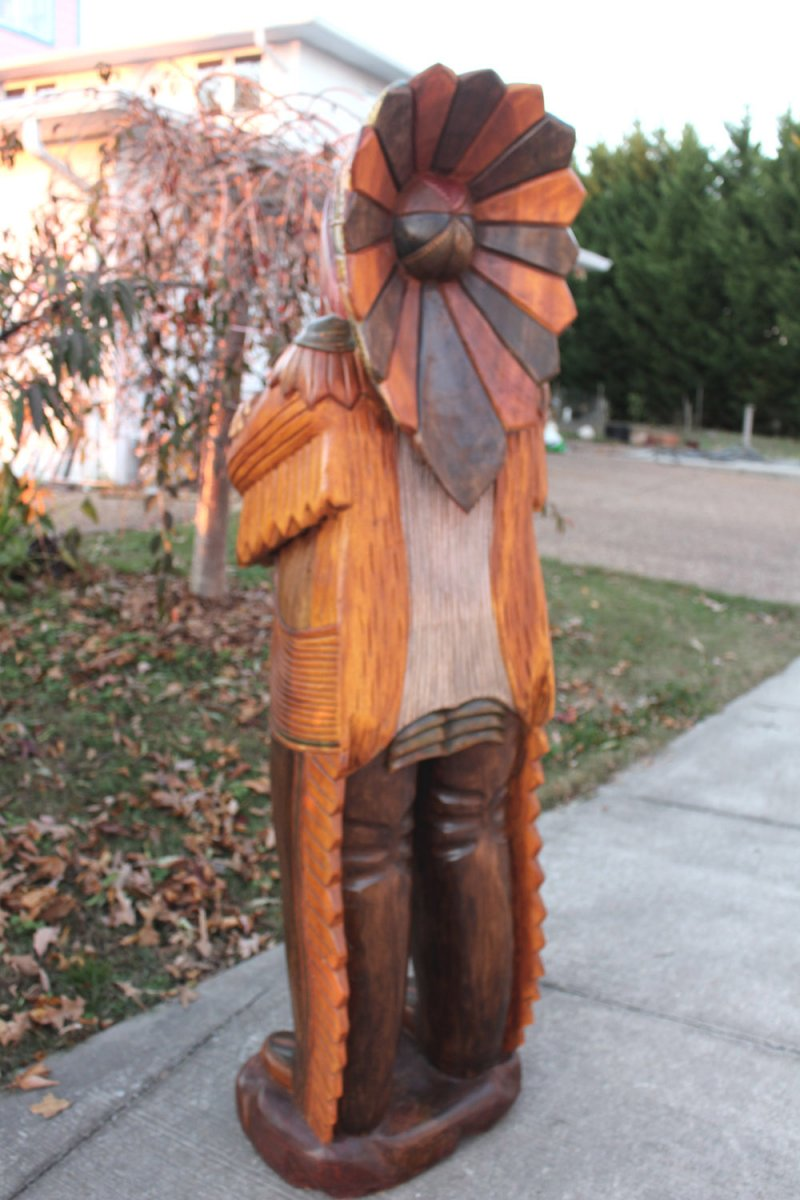 Image 3 of Wooden Native American Indian Chief Life Size Hand Carved Scupture Ready to Ship