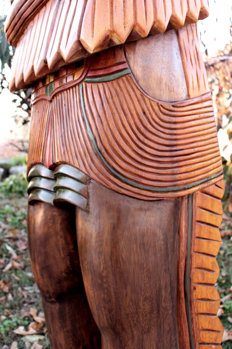 Image 5 of Wooden Native American Indian Chief Life Size Hand Carved Scupture Ready to Ship