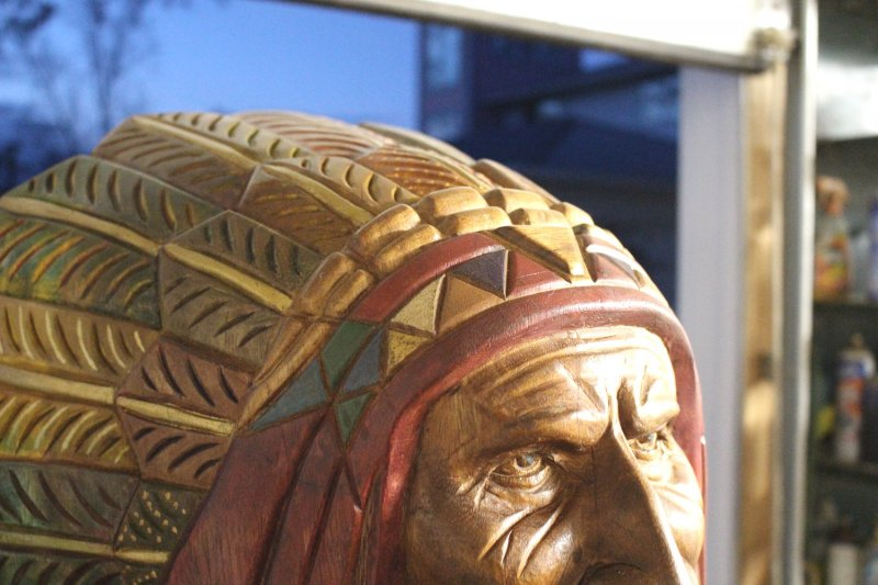 Image 7 of Wooden Native American Indian Chief Life Size Hand Carved Scupture Ready to Ship