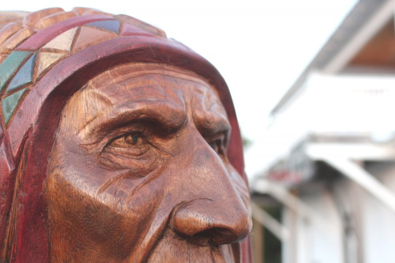 Image 8 of Wooden Native American Indian Chief Life Size Hand Carved Scupture Ready to Ship