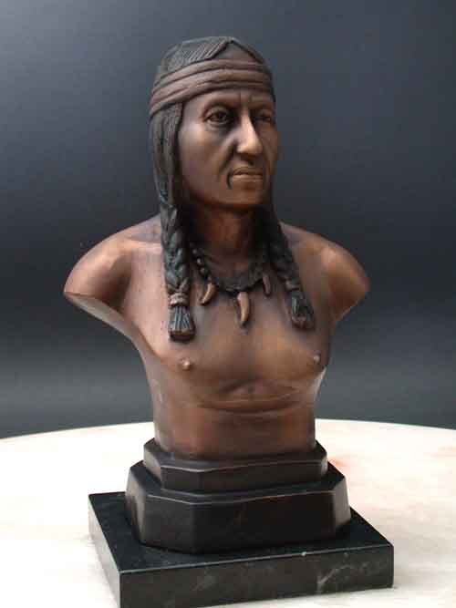 Comanche Brave Female Bronze Bust on Marble Base