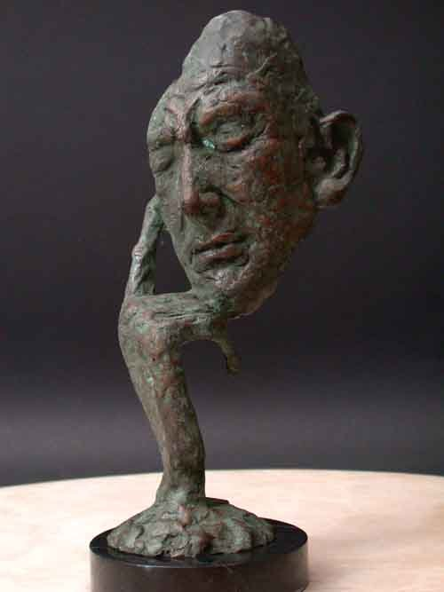 Thinking Man Modern Art Signed Lost Wax Bronze Casting Mounted on Marble Base