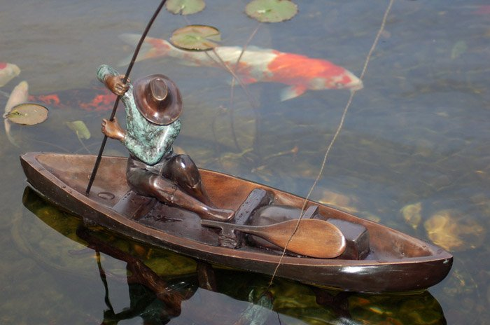 FISHERMAN Bronze Sculpture Fishing Koi Pond Boat (OPTIONAL FREE PUMP)