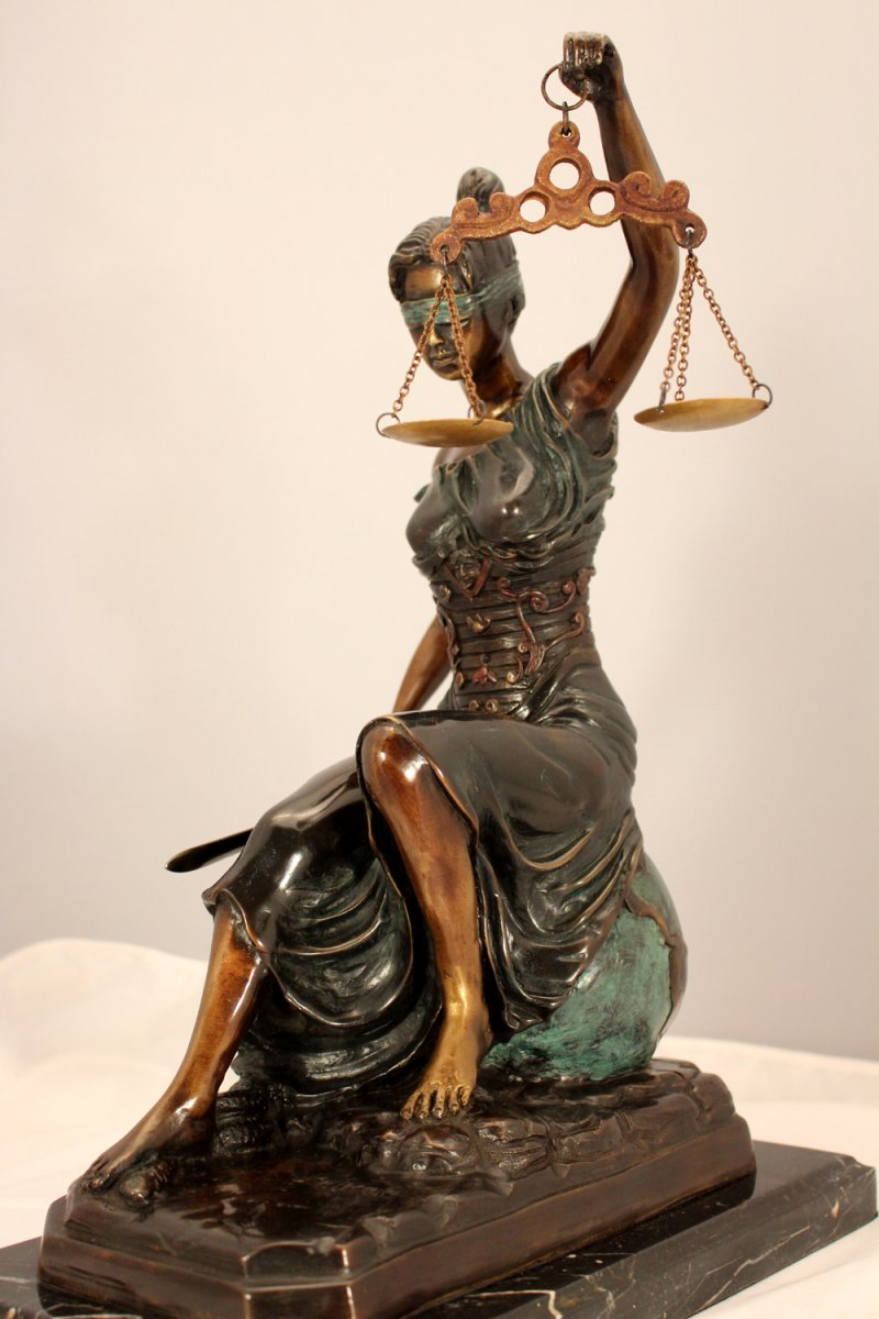 Sitting Lady Justice Bronze Metal Art 16 Lawyer Scales Signed Steiner