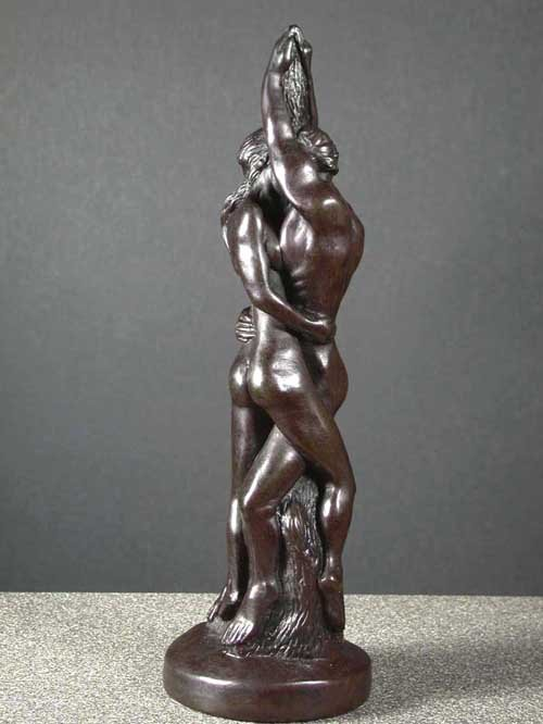 Tender Embracing Couple Deco Art Bone Resin Sculpture 11 Free Ship