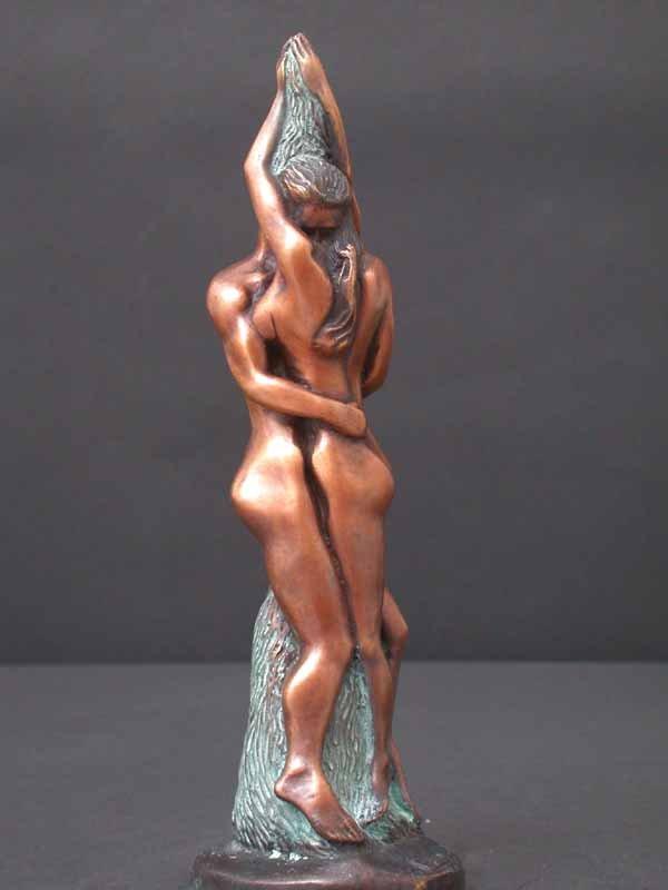 Tender Embracing Couple Deco Art Bronze Sculpture 11 Free Ship
