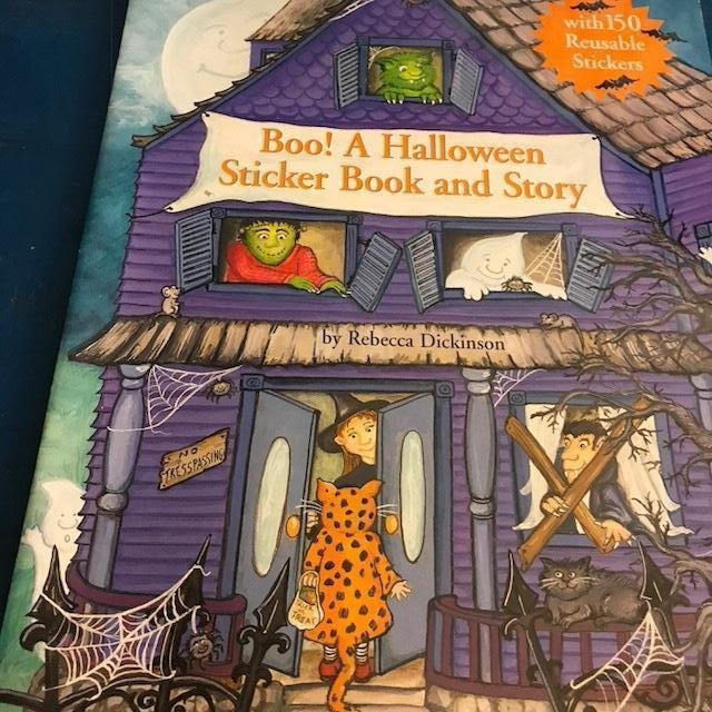 Image 1 of Childrens Halloween Stickers Story FOUR BOOK LOT Each15PGS 150reuseable Stickers