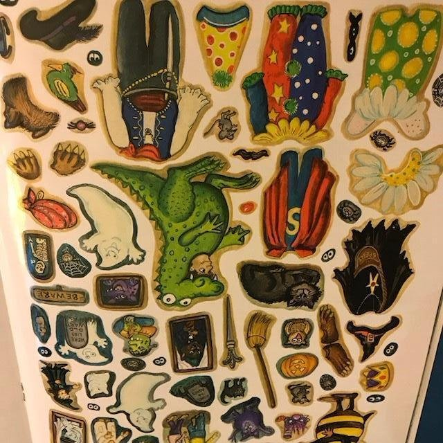Image 4 of Childrens Halloween Stickers Story FOUR BOOK LOT Each15PGS 150reuseable Stickers
