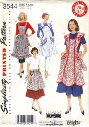 Simplicity 3544 Sewing Pattern  Vintage Re-Issue Apron Sewing Pattern 40's/50's