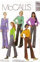 McCall's 3419 Girls' / Girls' Plus Low Rise Pants and Tops Uncut Sewing Pattern