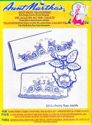 Aunt Martha's # 3213 Pretty Rose Motifs Embroidery Hot Iron Transfers