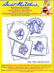 Aunt Martha's # 3286 Eight Vegetable Motifs Embroidery Hot Iron Transfers