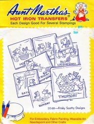 Aunt Martha's # 3548 Frisky Scotty Designs Embroidery Hot Iron Transfers