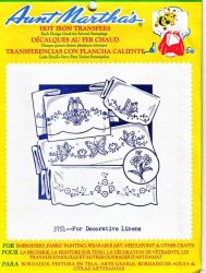 Aunt Martha's # 3751 for Decorative Linens Embroidery Hot Iron Transfers