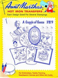 Aunt Martha's # 3819 A Gaggle of Geese Embroidery Hot Iron Transfers