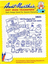 Aunt Martha's # 3825 44 Designs for Wood Cut-Outs Embroidery Hot Iron Transfers