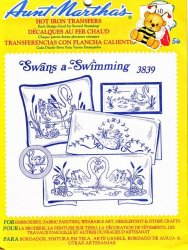 Aunt Martha's # 3839 Swans a-Swimming Embroidery Hot Iron Transfers