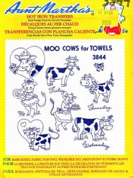 Aunt Martha's # 3844 Moo Cows for Towels Embroidery Hot Iron Transfers