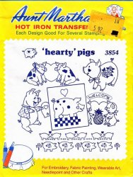 Aunt Martha's # 3854 Hearty Pigs Hot Embroidery Iron Transfers