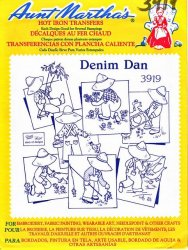 Aunt Martha's # 3919 Denim Dan Embroidery Hot Iron Transfers