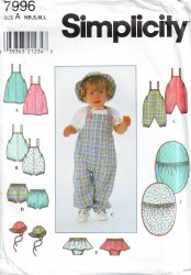 Simplicity 7996 Babies Layette-Includes Bunting In One Size Uncut Sewing Pattern