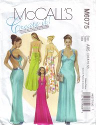 McCall's 6075 Floor Length Lined Dress Evening Wear 2 Back Designs