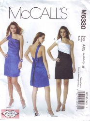 McCall's 6330 Phoebe Couture Pattern One Shoulder Cocktail Dress 4-6
