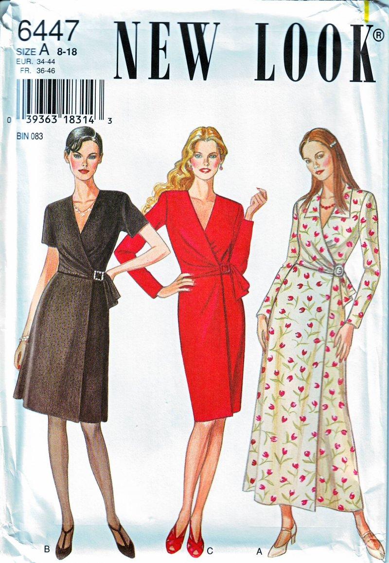 New look 6447 misses wrap wrap look dress uncut sewing pattern new look 6447 misses wrap wrap look dress uncut sewing pattern size 8 18 jeuxipadfo Choice Image