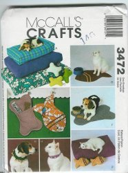 McCall's 3472 Sewing Pattern - Bed, Fish Pillow, Fish Mat, Collar, Bone Pillow