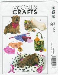 McCall's 5016 Uncut Sewing Pattern Pet Items Neckerchief Bed Place Mat