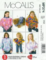 McCall's MP374 Sewing Pattern - Poncho for Mommy, Girls, Dolly and Pet Pattern