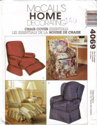McCall's 4069 Chair Slip Covers Directors Wingback Recliner Sewing Pattern Uncut