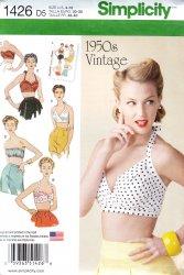 Simplicity #1426 Rockabilly Bra Halter Top Retro 1950's Sewing Pattern (4-12)