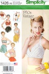 Simplicity #1426 Rockabilly Bra Halter Top Retro 1950's Sewing Pattern (14-22)