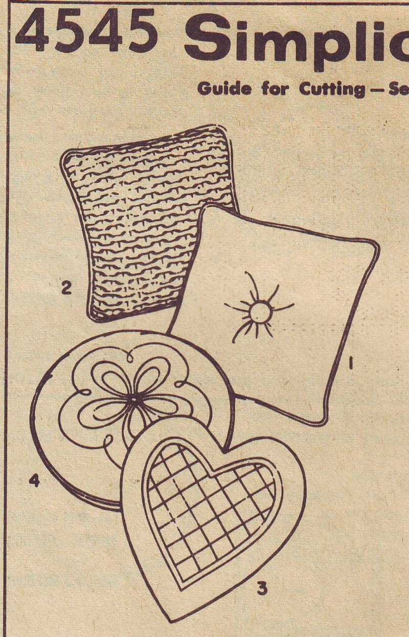 Decorative Throw Pillow Sewing Patterns : Simplicity 4545 Vintage Decorative Square Round Heart Pillows Sewing Pattern